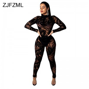 Bamboo Leaf Sheer Mesh Sexy Black Bodysuit Women Long Sleeve Perspective Bodycon Jumpsuit Casual O Neck Night Club Party Catsuit