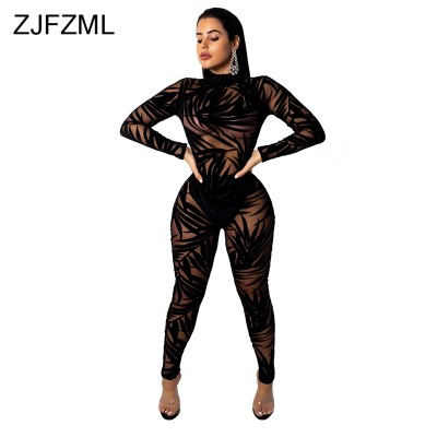 64235d46399e Bamboo Leaf Sheer Mesh Sexy Black Bodysuit Women Long Sleeve Perspective  Bodycon Jumpsuit Casual O Neck Night Club Party Catsuit (Bamboo Leaf Sheer  Mesh ...