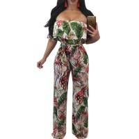 Bohemian Palm Print Lace Up Jumpsuits&Rompers Off Shoulder Plus Size Women Jumpsuit Summer Beach Sexy Jumpsuit