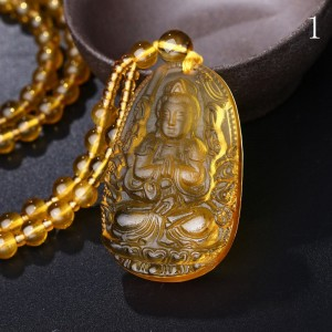 Citrine Necklace Natural Stone Pendant Buddha Guardian Ball Chain Lucky Gift Crystal Gravity Falls Body Topaz long necklace