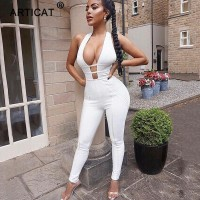 Cotton Sexy Hollow Out Bandage Jumpsuit Women Sleeveless Backless Bodycon Rompers Womens Jumpsuit Autumn Party Playsuit