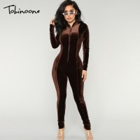 Winter Long Rompers Slim Full Overalls Women Sexy Turtleneck Pleuche Bodysuits Bodycon Velvet Jumpsuits