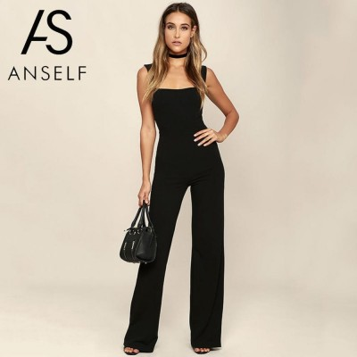 61b48996dca Womens Jumpsuit Elegant Lady Rompers Flared Square Neck Overalls Sleeveless  Back Zipper Playsuit female dungarees Pantsuit