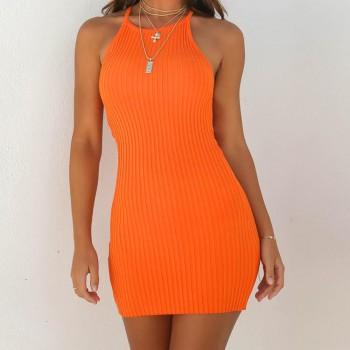 Backless Basic Dresses Bodycon Dress Strap Solid Orange Black