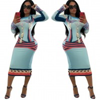 Bandage knee length high waist long sleeve striped paisley print o-neck midi dress