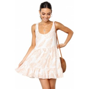 Beige Leaf Pattern Ruffled Summer Boho Dress