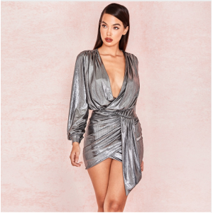 New Metal Color Party Dress Winter Long Sleeve Sexy Deep V Neck Wrap Mini Dress