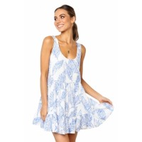 Sky Blue Leaf Pattern Ruffled Summer Boho Dress