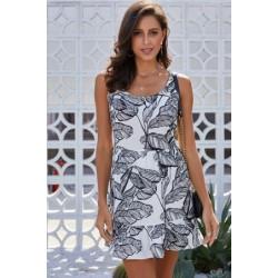 Black Leaf Pattern Ruffled Summer Boho Dress