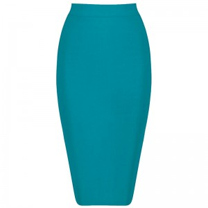 Knee-length Solid Color Slim Bandage Skirt
