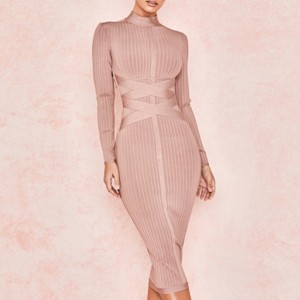 Nude Long Sleeve Midi Club Dress Bandage