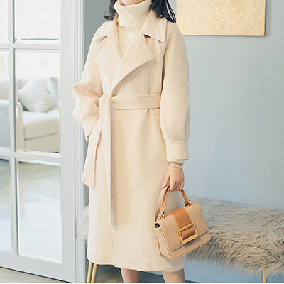 Plus size loose warm wool blends long winter coat turn-down collar