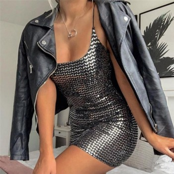 Sequin women dress sexy high waist black