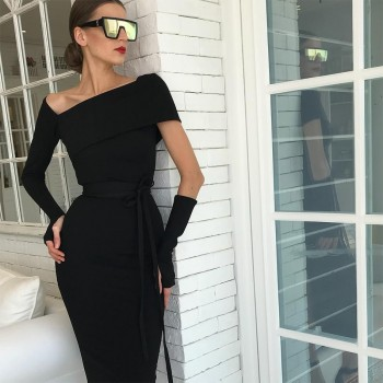 Sexy Hollow Out Black Bandage Dress