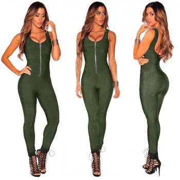 Sleeveless Sexy Jumpsuit Women Tight Bodycon Zipper