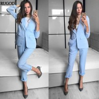 Business Suits Female Two Piece Sets Femme Long Sleeve Jacket