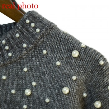 Bead lantern sleeve knitted sweater pullover