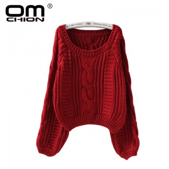 Pullovers Lantern Sleeve Short Sweater Loose