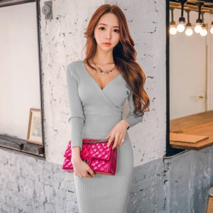 Winter Women Knitted Cotton Skinny Sweater Dress V-neck Slim Bodycon Dress
