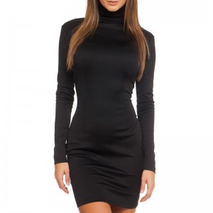 Long Sleeve Bodycon Slimming Solid Color Dress
