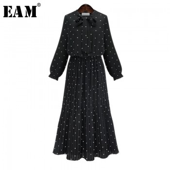 Round Neck Long Sleeve Solid Black Chiffon Polka Dot Black