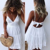Spaghetti Strap Bow Dresses Sexy Women V-neck Sleeveless Beach Backless Lace Patchwork