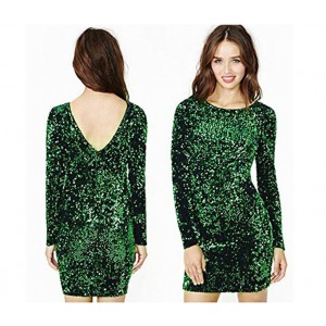 Green Sequin Dress Slim Fit Backless Bodycon