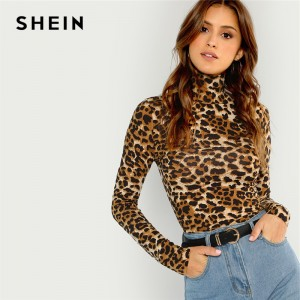 High Neck Leopard Print Fitted Pullovers Long Sleeve