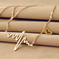 EKg Necklace Love Shaped Titanium Steel Heartbeat Lockbone Chain Heart Pendant
