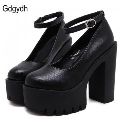 High-heeled shoes sexy thick heels platform pumps Black White