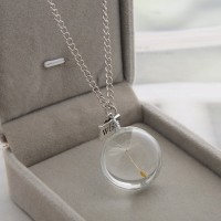 Real Dandelion Crystal Necklace Glass Round Pendants Necklace Silver Chain Choker Necklace For Women