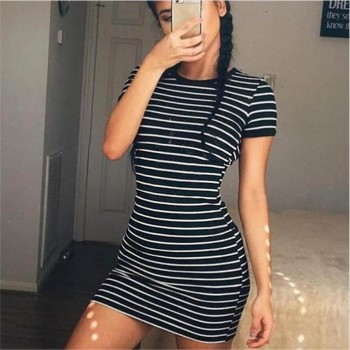 Round Neck Short-sleeved Dress Black And White Striped