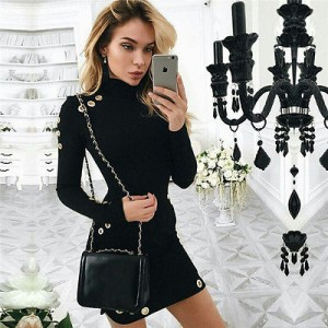 Winter Warm Cotton Dresses Long Sleeve High Neck black