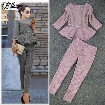 2019 Spring Autumn Fashion Women's Business Pants Suits Houndstooth Checker Pattern Ruffles Suits For Women 2 Pieces Set