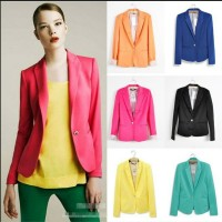 Blazer Women New 2019 Candy Color Jackets Suit Slim