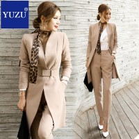 Pant Suits For Women Blazer Set Autumn Lady Business Office Work Korean Style Uniform V-neck Long Jacket