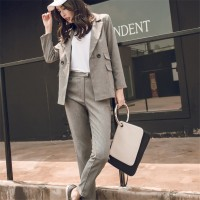 Women 2 Two Piece Sets Short Gray Solid Blazer + High Waist Pant Office Lady Notched Jacket Pant Suits