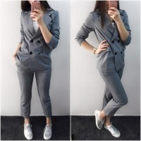 Work Fashion Pant Suits 2 Piece Set for Women Double Breasted Striped Blazer Jacket