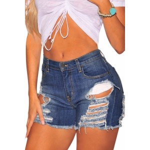 Denim Ripped Destroyed High Waist Shorts