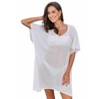 White Fishnet Beach Dress Black