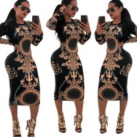 Long Sleeve Print Hot Sale Wrap Hip Bodycon Cocktail Bandage dress Purple Black White