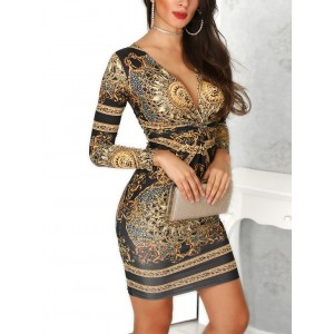 Sexy Deep V-neck Palace Print Bodycon Dress Women Long Sleeve Elegant Party Dress Gold