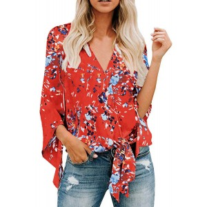 White V Neck Flared Sleeve Floral Blouse Orange Pink