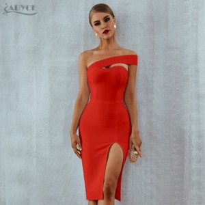 Bandage Dress Vestidos Verano 2018 Summer Women Sexy Elegant White Black One Shoulder Midi