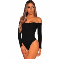 Black Ribbed Knit Off Shoulder Long Sleeves Bodysuit