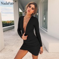 Deep V Neck Backless Skinny Sexy Bodycon Dresses Women Long Sleeve Mini