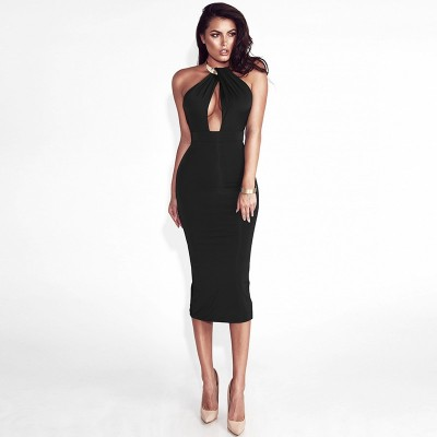 Hollow Out Party Bodycon Bandage Dress Women 2017 Off Shoulder Choker
