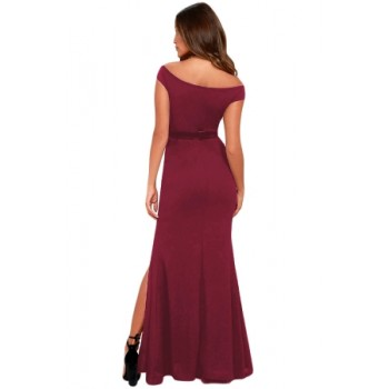 Red Ballroom Bound Off-The-Shoulder Maxi Dress