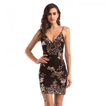Black Gold Sequin Dress Women Nightclub