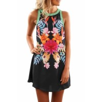 Black Sleeveless Floral Printed Sundress